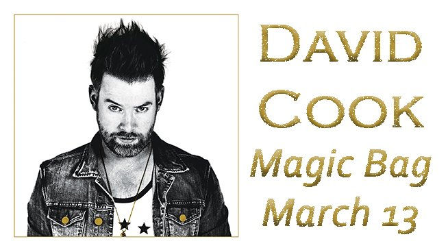 Tix to @thedavidcook at @themagicbag all day! Follow & tweet us for an extra shot #David963 https://t.co/6eyF69tnhh https://t.co/6PWC2HKp6t
