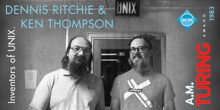 Ken Thompson and Dennis Richie, #Unix developers and 1993 ACM A.M. #TuringAward co-recipients. https://t.co/D0IueezFeA
