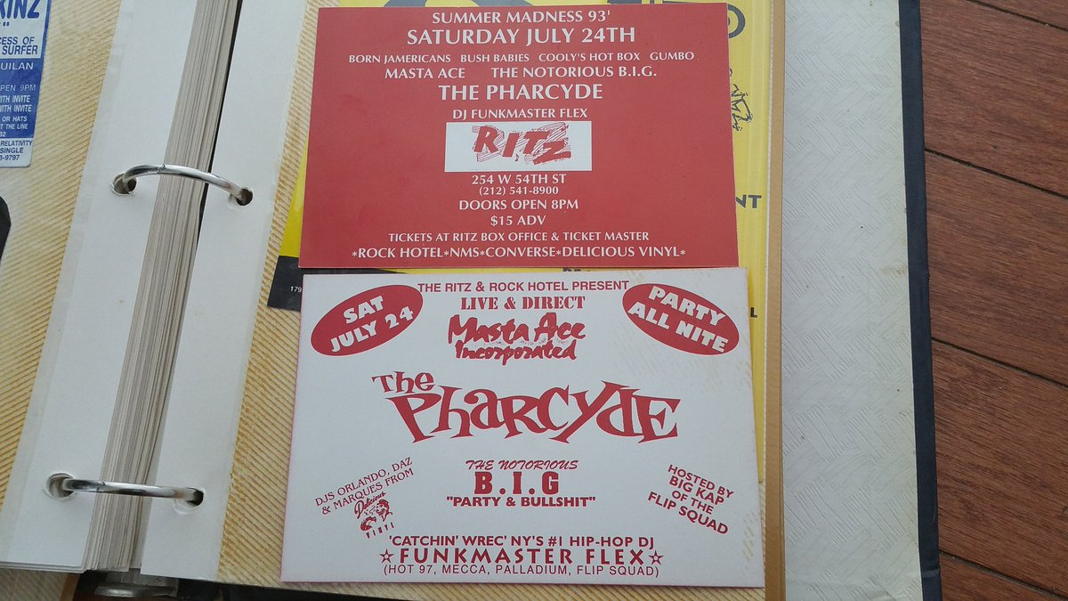 Flyer from my youth.  1993,  opening for  @thepharcyde,  the notorious #BiggieSmalls.  Tupac was on stage that nite https://t.co/6Sh2xixsJL
