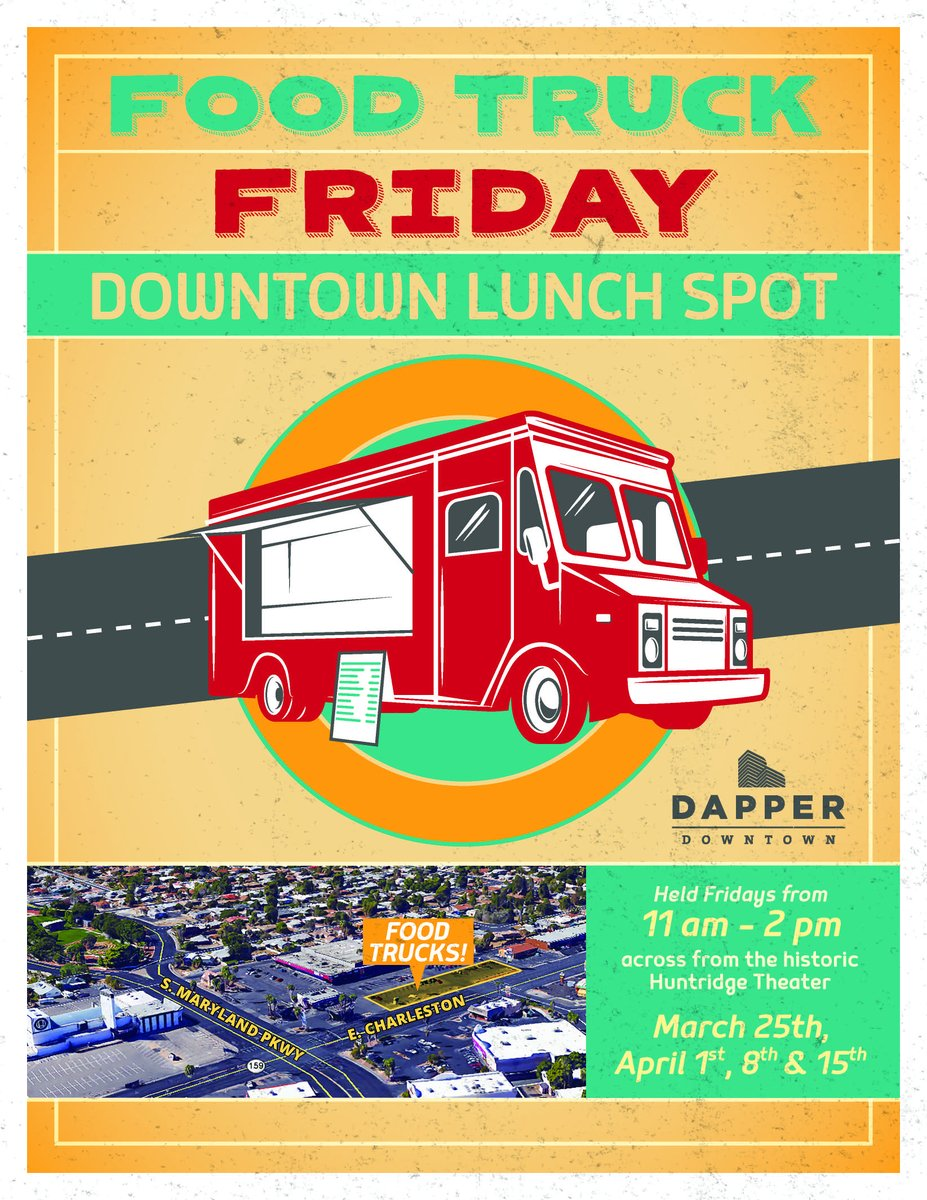 Food Truck Fridays coming 11 a.m. - 2 p.m. to Huntridge Shopping Center starting 3/25. #dtlv @DTLVfans https://t.co/IwigE3hQN8