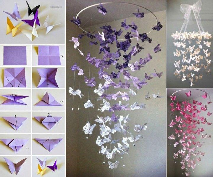 Butterfly Chandelier Mobile DIY Tutorial #diy, #craft, #homedecor, #mobile, #chandelier https://t.co/eLeWxCJxpl