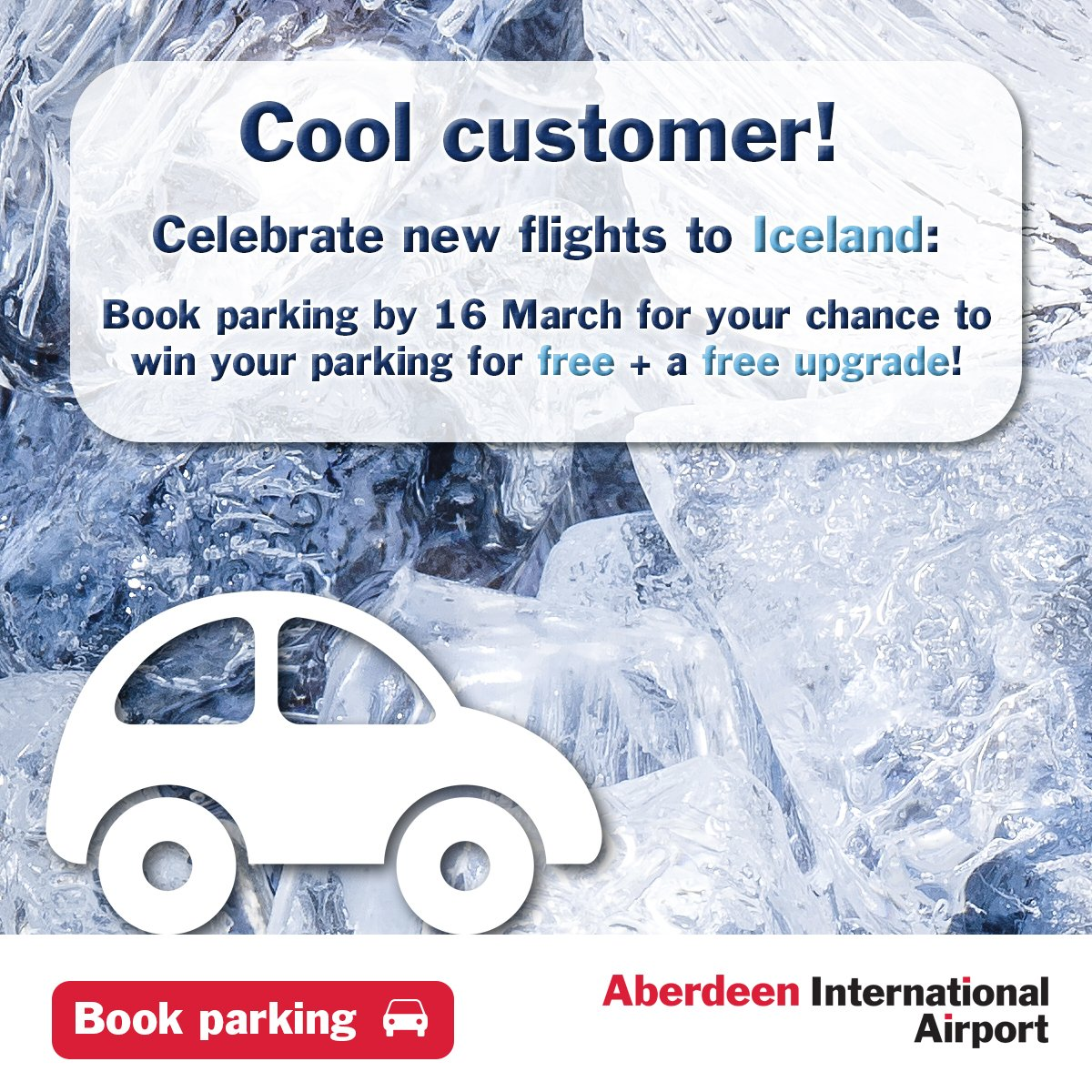 Celebrate new Iceland flights! Book parking by 16/03 for chance to win it free +  upgrade!