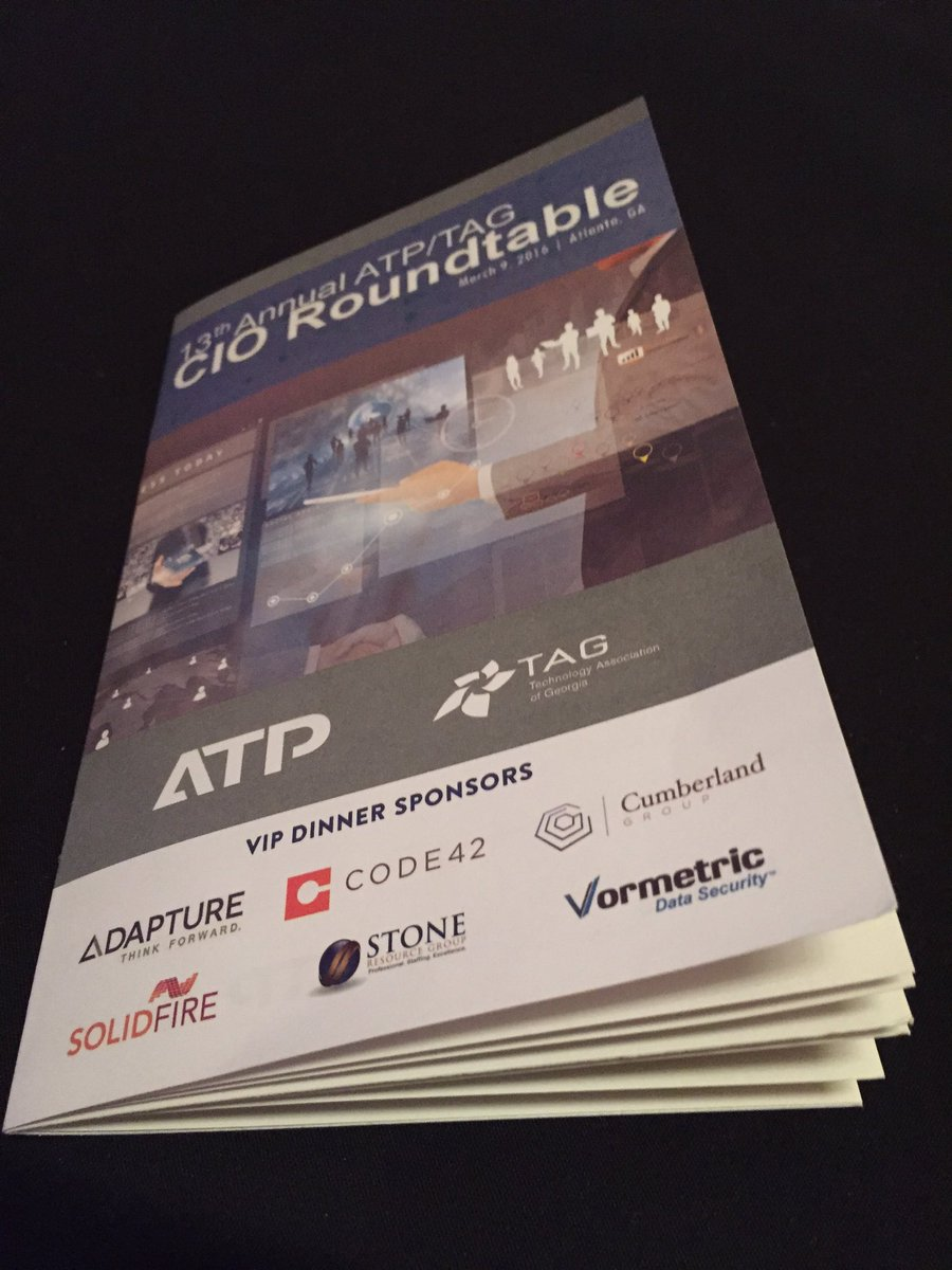 Thanks VIP Dinner Sponsors! @AdaptureTech @code42 @solidfire @Vormetric @cumberlandGRP @stone_resources #ATPTAGCIO https://t.co/dCo3ROmlXw