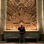 Greetings from #CentralCity, home of @CW_TheFlash! Giant Bas-Relief Mural by @tbharron (and sculpted by his Dad). https://t.co/mhIFluF3dN