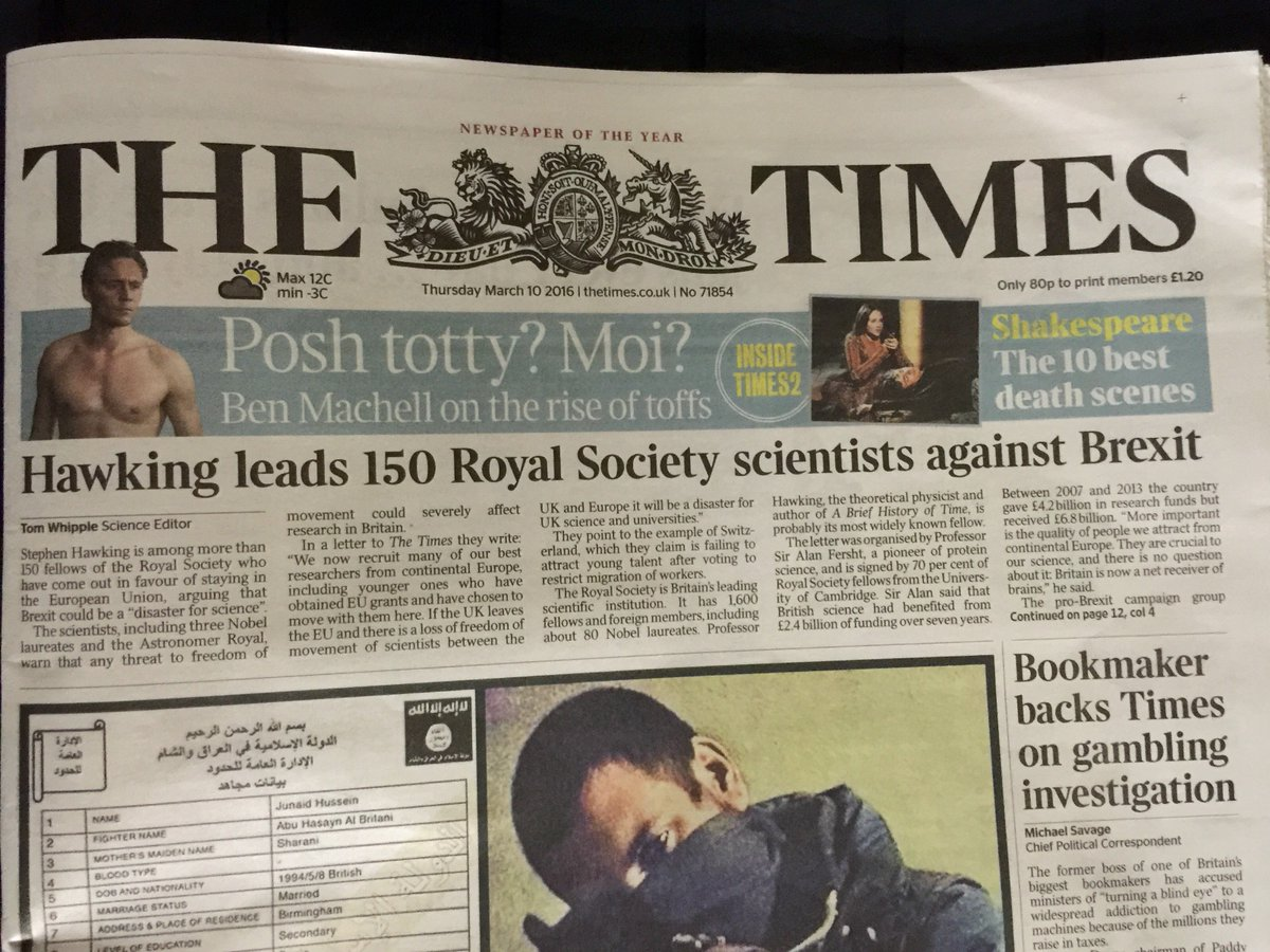 'Brexit would be a disaster for science': Times splash on 150 Fellows @royalsociety backing Remain @Scientists4EU https://t.co/rDLhjbpRYZ