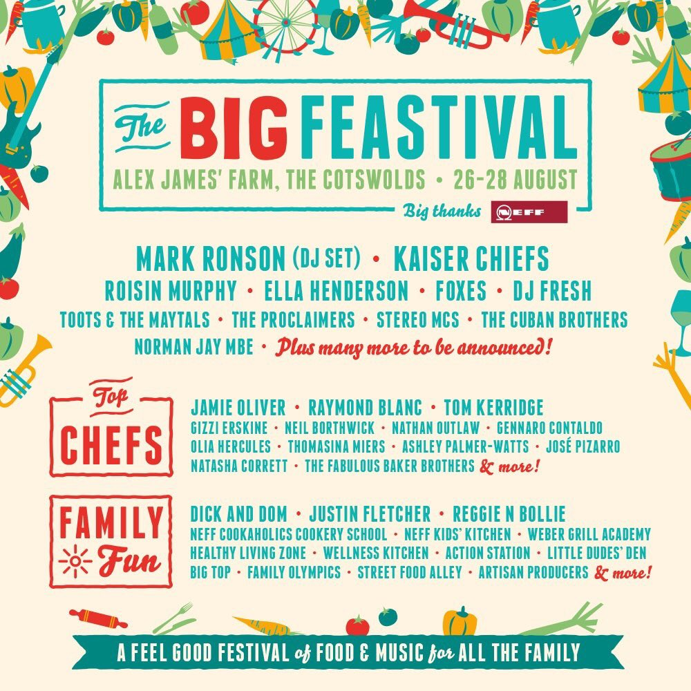 RT @dickndom: Pleased to announce that we'll be joining @jamieoliver @TheAlexJames @thebigfeastival #5yearsonthefarm ! https://t.co/ZZoGXUh…