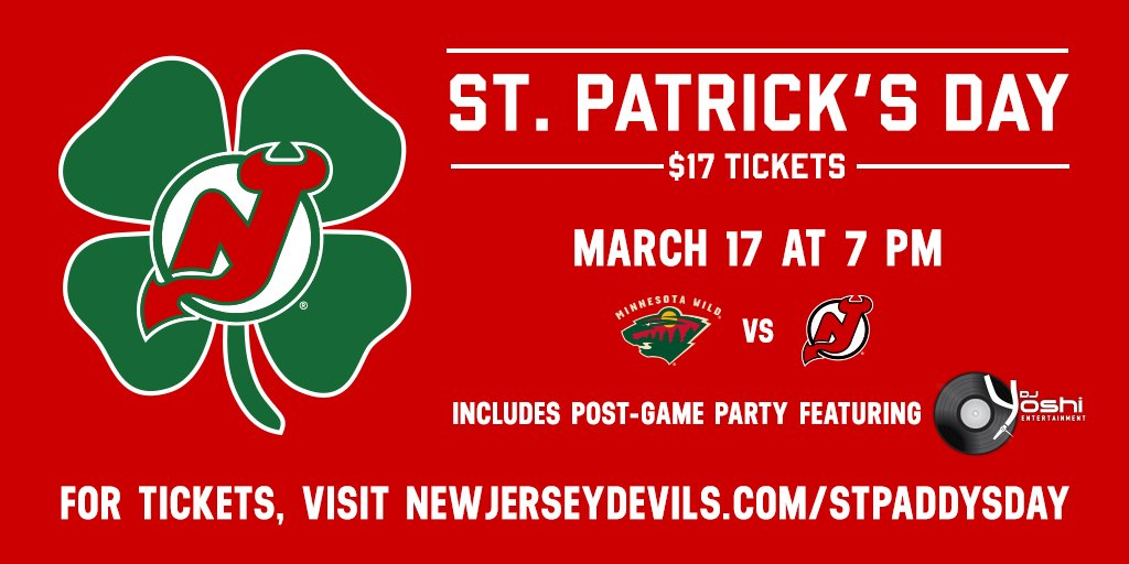 @RFootball @rutgersalumni join me for the @NJDevils St. Patrick's Experience! Enjoy a Game & After Party on 3/17! https://t.co/BTZAVv4V8v