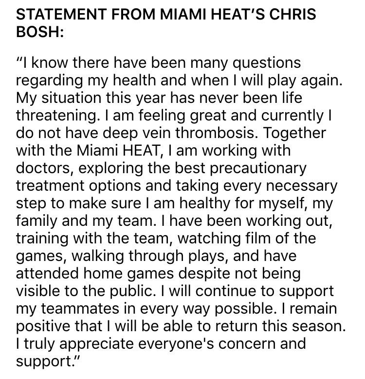 "Bosh says in a statement he's got no blood clots and remains ""positive that I will be able to return this season."" https://t.co/knVqPMq3CK"