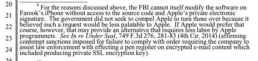 If the FBI doesn't get Apple to write the security weak iOS, it may demand Apple's source code and private key https://t.co/3j9nj7qMyU