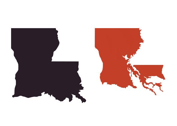 On a map of the US Louisiana's boundaries don't show its real land mass.. it's mostly water. this is the real shape. https://t.co/OLjpFyHznK