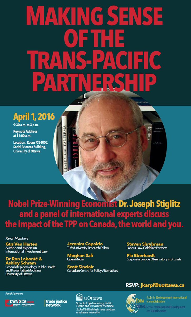 Well this looks good: Stiglitz and others at event on Trans-Pacific Partnership in Ottawa, April 1. #ISDS #TPP https://t.co/vDBuvjSX3B