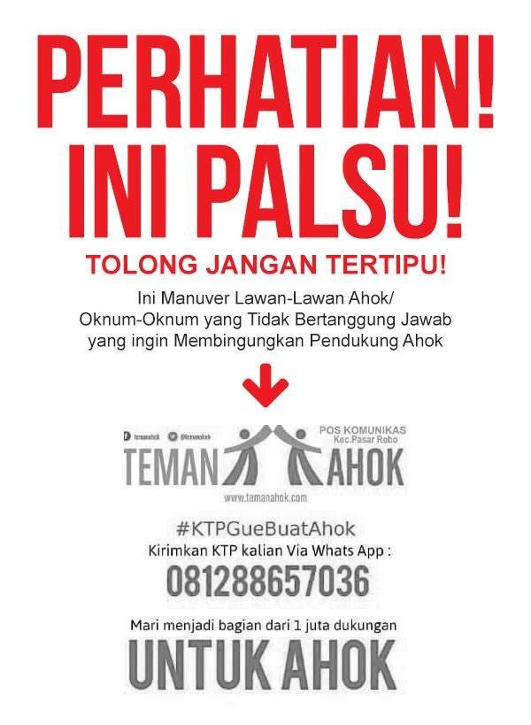 JANGAN daftarin KTP buat dukung Ahok lewat no WA ini. Cek @temanAhok utk daftar posko & booth resmi! https://t.co/AyFggccI21