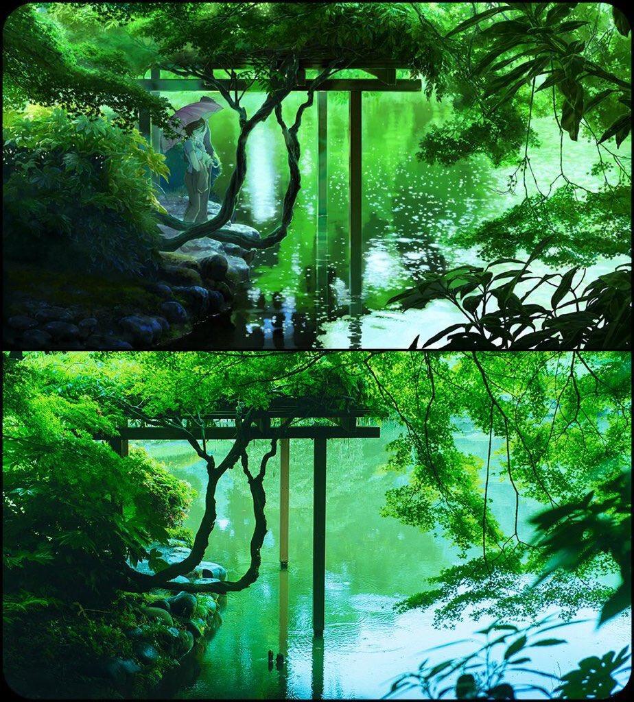 僕の大好きなアニメーション映画『言の葉の庭』の監督新海誠の背景画が緻密過ぎて実際の風景と区別がつかない。是非みなさん見て