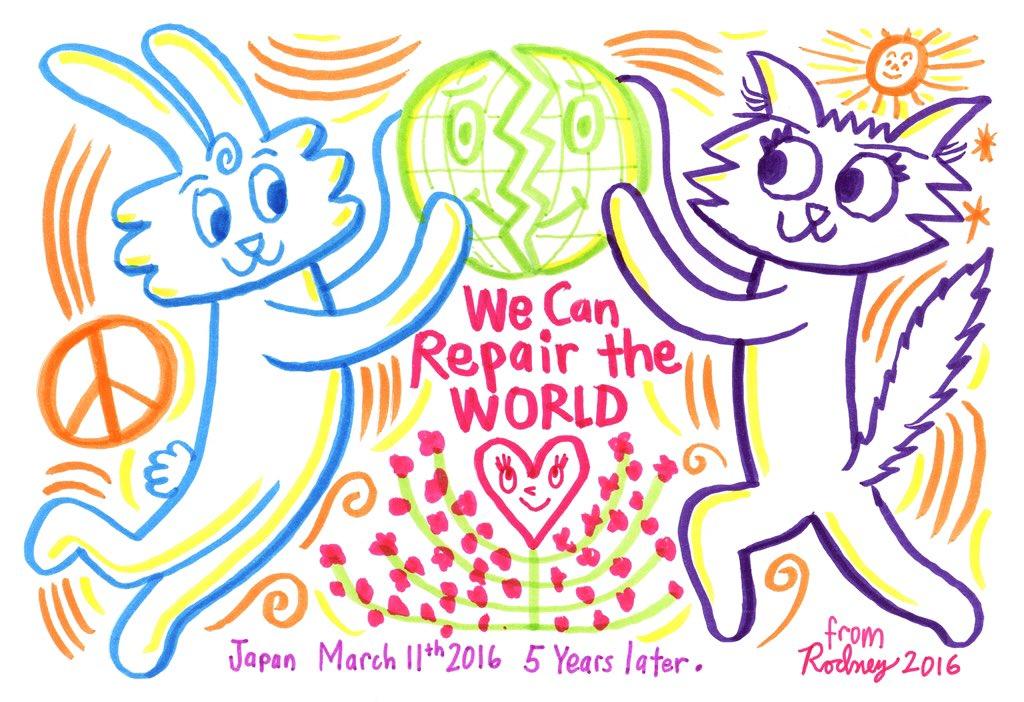 #東日本大震災 から5年、未だに復興に至っていない状況をロドニーに伝えたところ、被災地の皆さんが前向きに元気になって欲しいという想いを託したイラストを描いてくれました。 https://t.co/RQiLcekYml