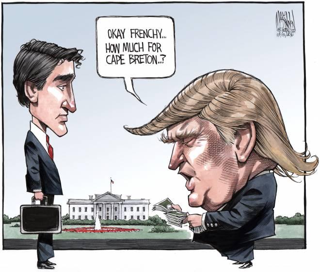 Okay Frenchy, how much for Cape Breton? @CH_Cartoon imagines Trump meeting Trudeau https://t.co/3b74msJ1OL #cdnpoli https://t.co/olC5KFJWLX