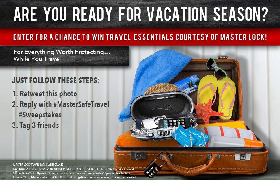Travel w/ @MasterLockUS. Enter #sweepstakes of 10+ prizes & $100 GCs #mastersafetravel  #ad https://t.co/D0qfYCB2wB https://t.co/E1CS0tKjdw