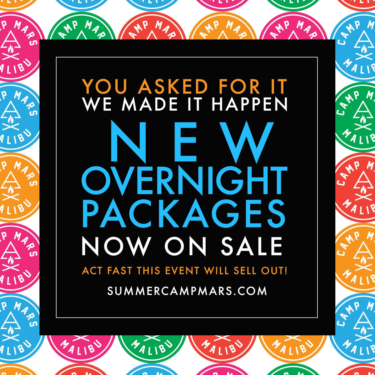 RT @30SECONDSTOMARS: Your chance to join us this August is here. New #CampMars Overnight Packages NOW ON SALE! | https://t.co/pefBVy7Wgb ht…