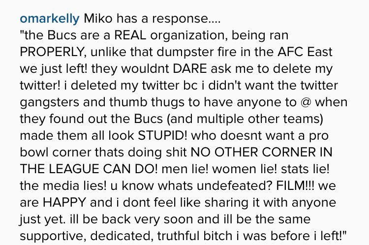 Here's post from new Bucs CB Brent Grimes' wife Miko, through @OmarKelly on Instagram: https://t.co/Rf2iCGyFM8