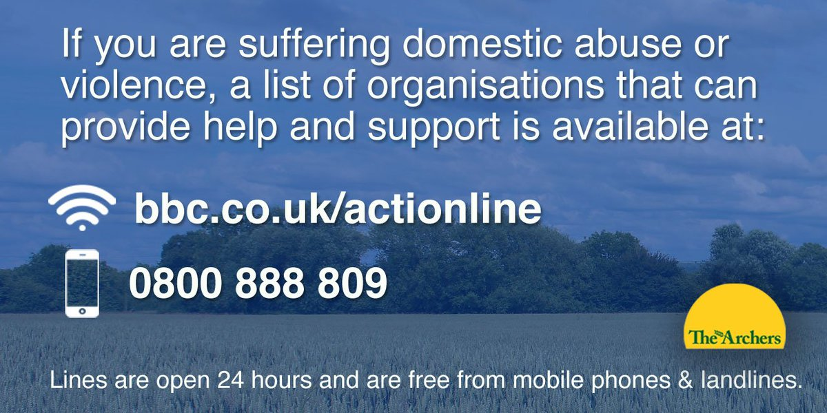 If you are suffering domestic abuse or violence, help is available: https://t.co/NdRiVm3hBi #thearchers https://t.co/mDOSwH9Bv8
