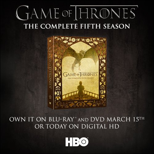 #GoT Season 5 available 3/15 on Blu-ray/DVD/Digital HD. RT this for your chance to win a Blu-Ray prize pack from FP! https://t.co/3ChFdf3yFx