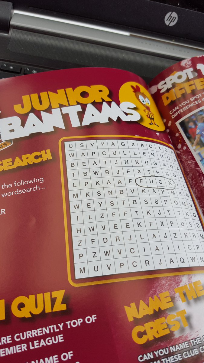Enjoying the Pre-match wordsearch from @officialbantams #bcafc https://t.co/fUOzzR94zK