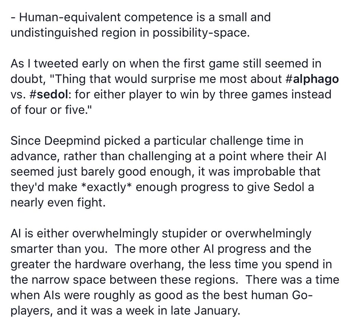 Simply fantastic post about AlphaGo and what it shows about AI risk from @ESYudkowsky. https://t.co/LJOG15nuHb https://t.co/5fg5A7bHrj