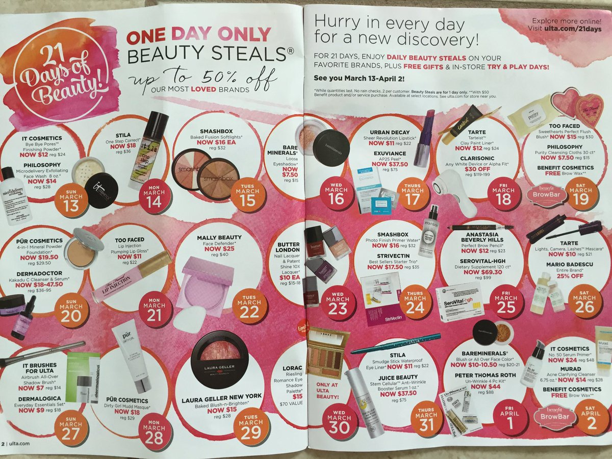 @MakeupForWOC Ulta's 21 Days of Beauty starts tomorrow! Beauty Steals every day up to 50% off!