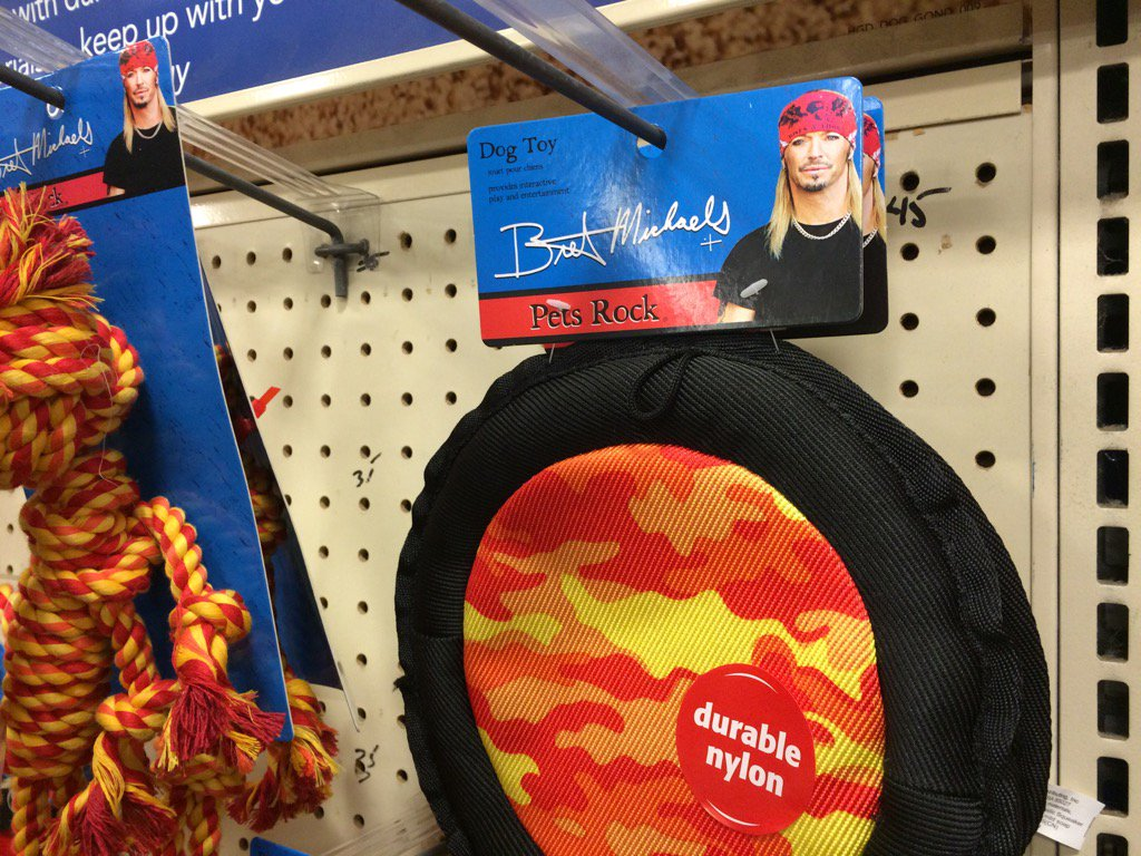 I know there's a lot that's bumming people out today but did you know Brett Michaels has a line of dog toys? https://t.co/Jtg6XaIcZH