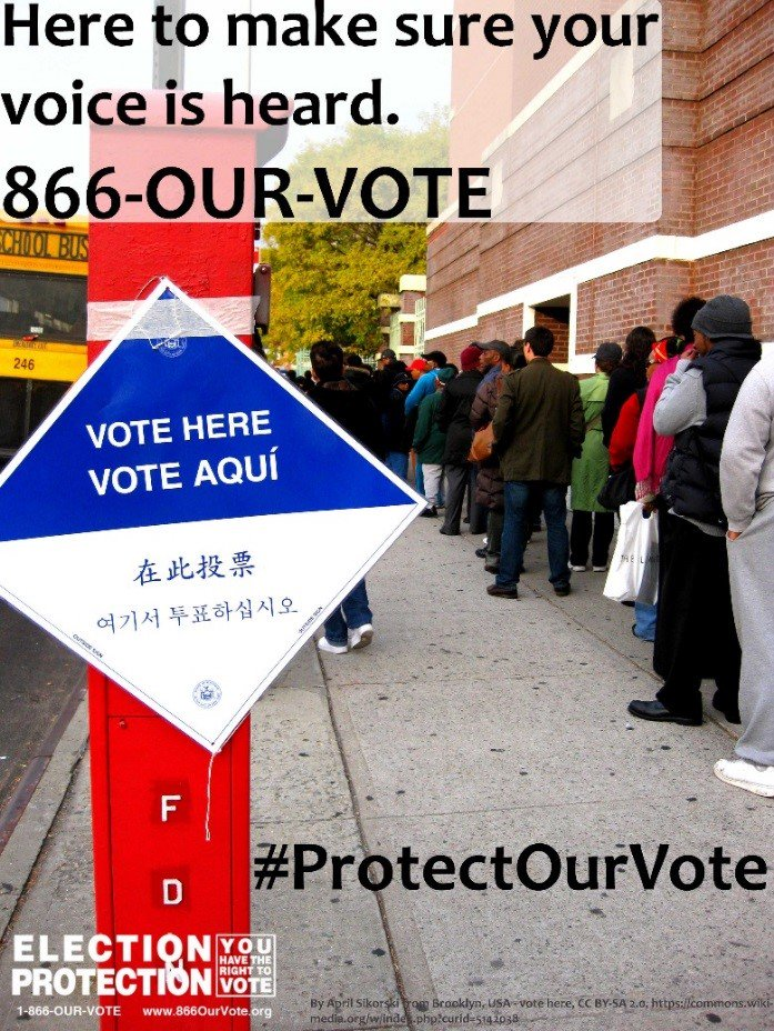 What happens if you face problems at the polls? Call @866OURVOTE or 1-888-VE-Y-VOTA #election2016 #ProtectOurVote https://t.co/GaDoCM4Yfn