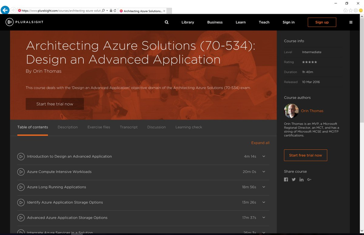 My new @pluralsight course, Architecting Azure 70-534: Design an Advanced Application is out https://t.co/MXBBHaVM2p https://t.co/lCVle8lAjB