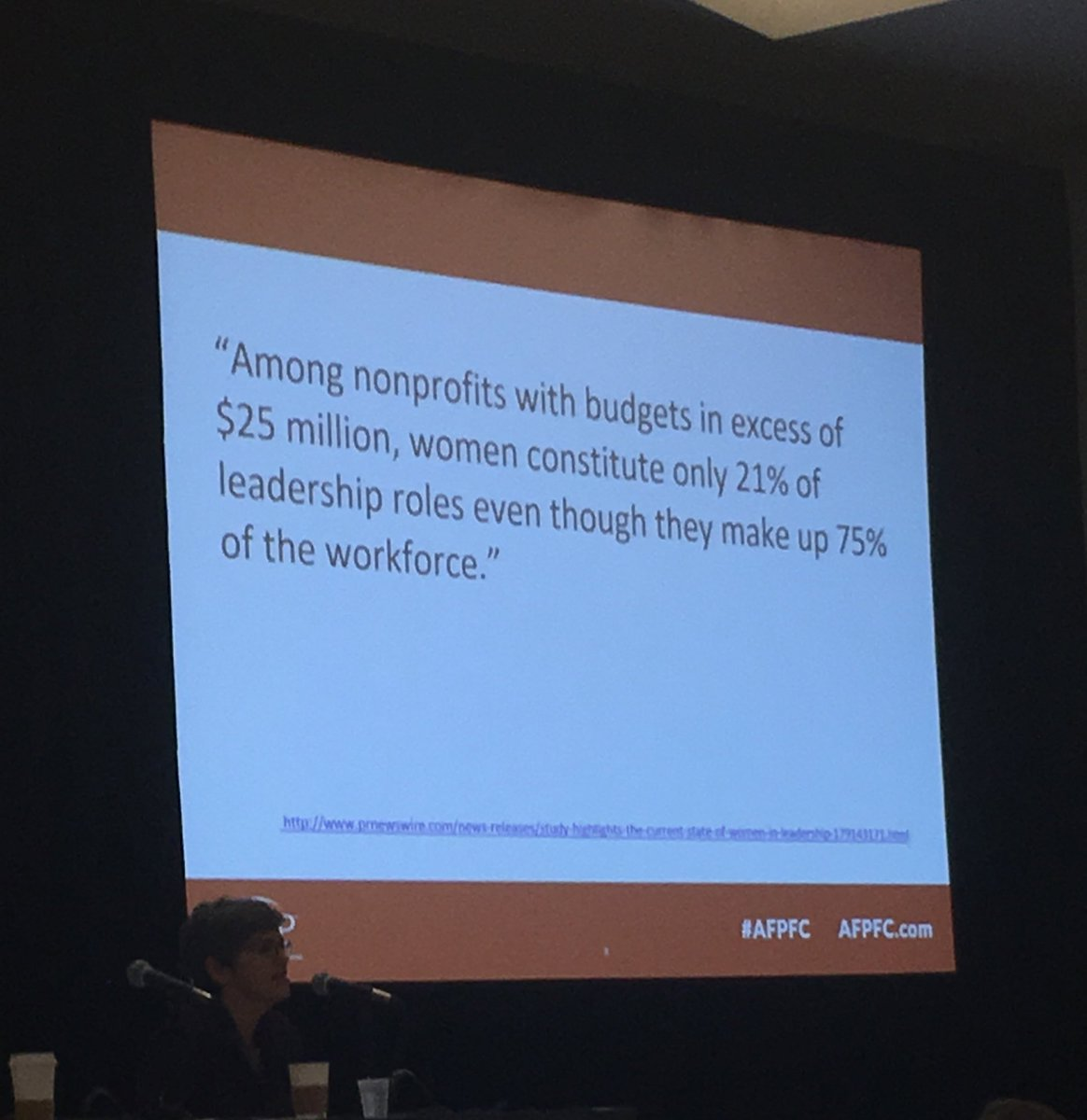 Here is a problem #nonprofits: women are only 21% of leaders but 75% of workforce #LeanInFundraising #afpfc https://t.co/ZbNgmFD8gP