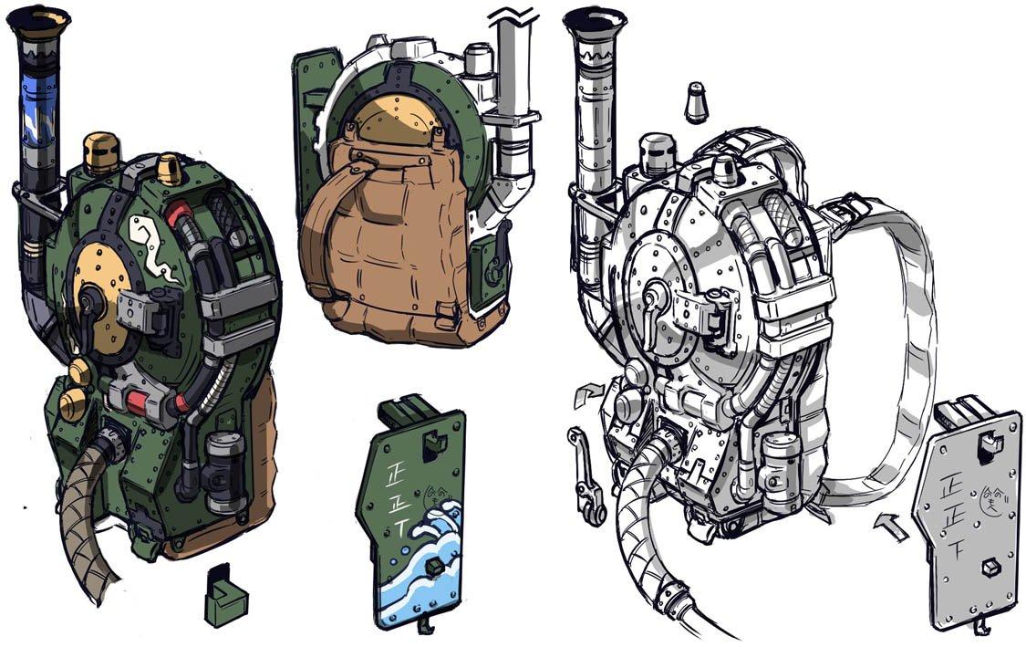 整理してたら「ダイショーグン」CGムービー用に描いた設定が出てきた。スチームパンクテイスト異世界時代劇ノリで背負い式蒸気