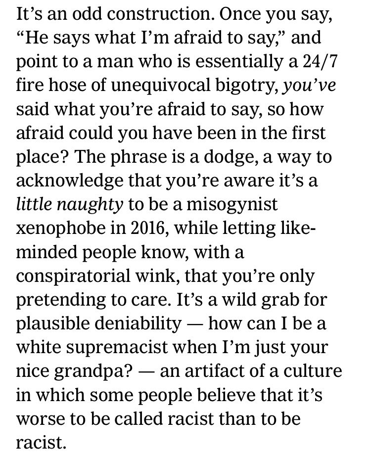 """He says what I'm afraid to say."" @thelindywest brilliantly unpacks this trope of Trump fans https://t.co/oN8okHLb2J https://t.co/VLX5HbcqeY"