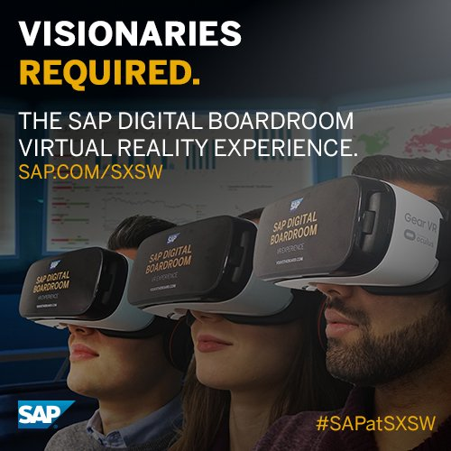 SAP disrupts SXSW with #VR analytics. Visit us at booth #1237 to try it out #SAPatSXSW https://t.co/ruAyutL9x1 https://t.co/Cs7xS0kCyO