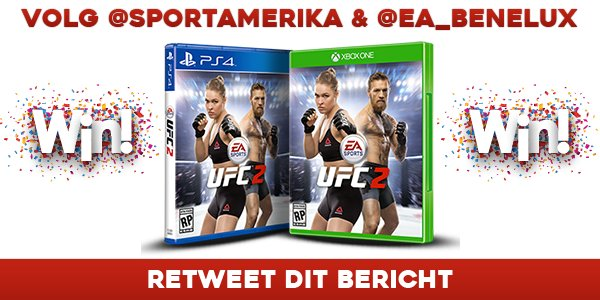 Kans maken op het nieuwe spel #UFC2? Volg @sportamerika, @ea_benelux en retweet dit bericht! Deelnemen kan t/m 16/3 https://t.co/0YrKGplJal