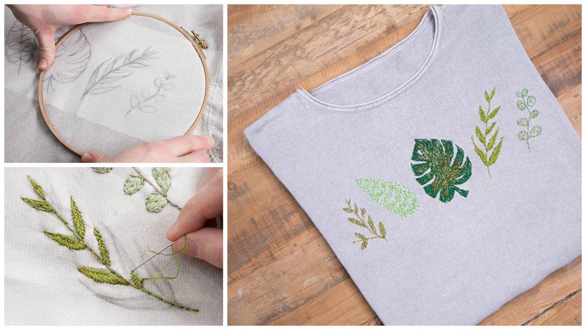 Tutoriale DIY: Cómo bordar diferentes hojas en un jersey vía DaWanda.com