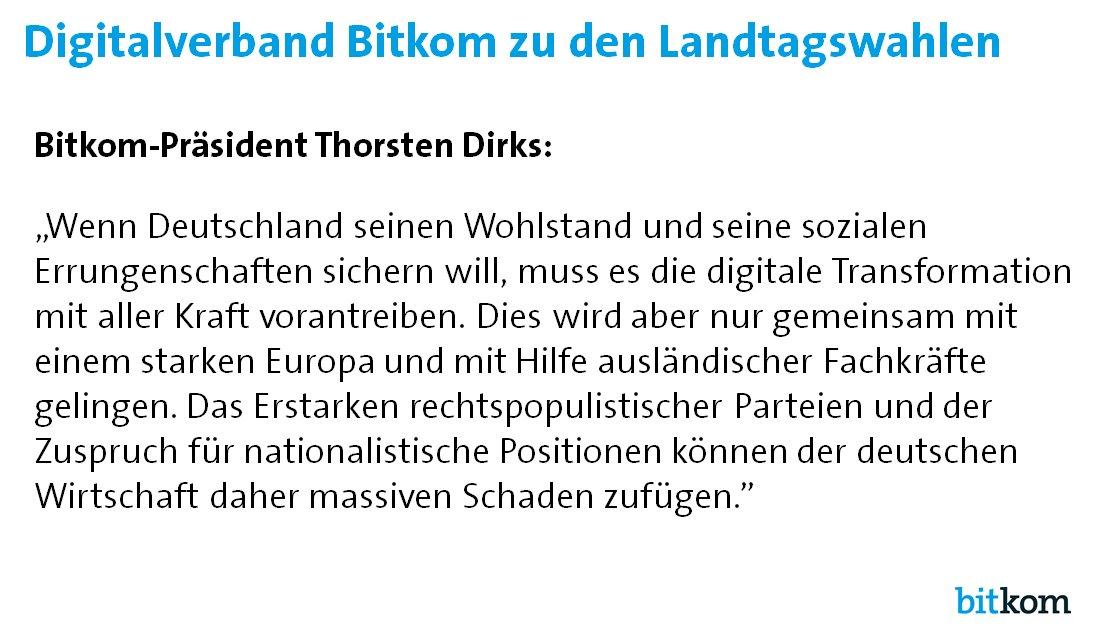 Bitkom warnt anlässlich der Landtagswahlen vor Fremdenfeindlichkeit und dem Erstarken rechtspopulistischer Parteien. https://t.co/pukxNgaADi
