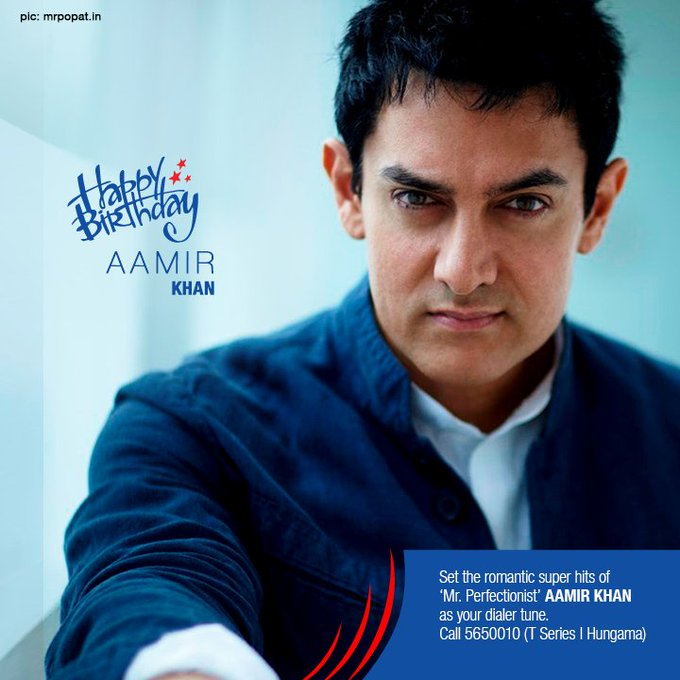 Wishing the brilliant Aamir Khan a Happy Birthday! Set his songs as your dialer tune.