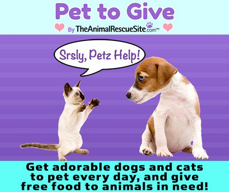 Check out PetToGive! I've donated 8050 kibbles to rescued animals so far https://t.co/zkAHl6vTr1 https://t.co/CDg4zso3gc