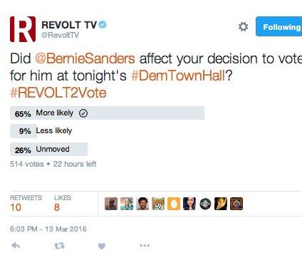 @RevoltTV @BernieSanders @tvonetv wow Bernie's won 65% of 514 votes i guess @CNN AA r #FeelingtheBern @ #DemTownHall https://t.co/ZRKlQGZmYE