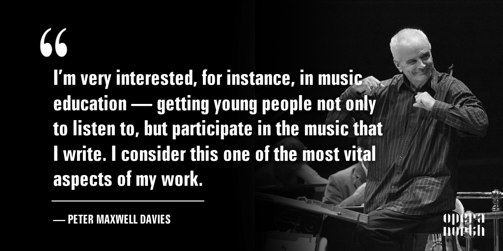 Inspiring words from the great late Peter Maxwell Davies, who will be missed #WiseWords #MusicEducation https://t.co/DkzJb5EN8q