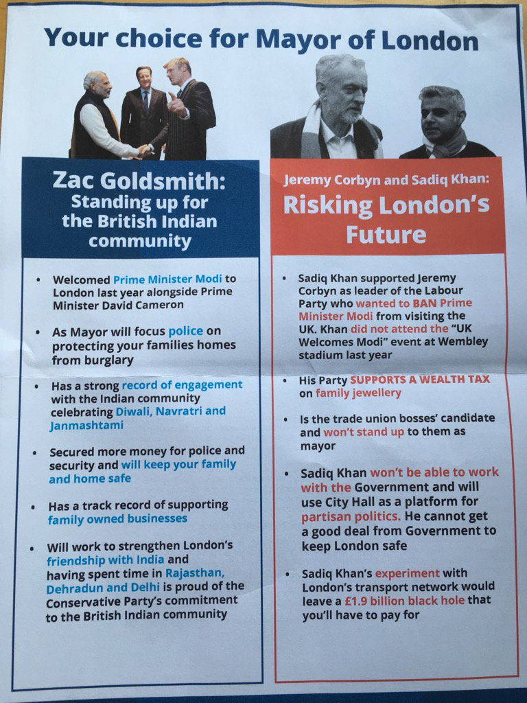 Zac Goldsmith targeting Indian voters with coded Muslim bashing & open Modi love. Wife disgusted to receive this. https://t.co/dTdvQf6OQr