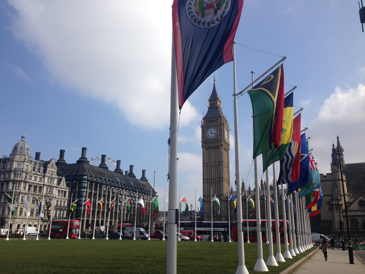 Flags of the @commonwealthsec outside Parliament today for #CommonwealthDay https://t.co/b0BEik5ACb