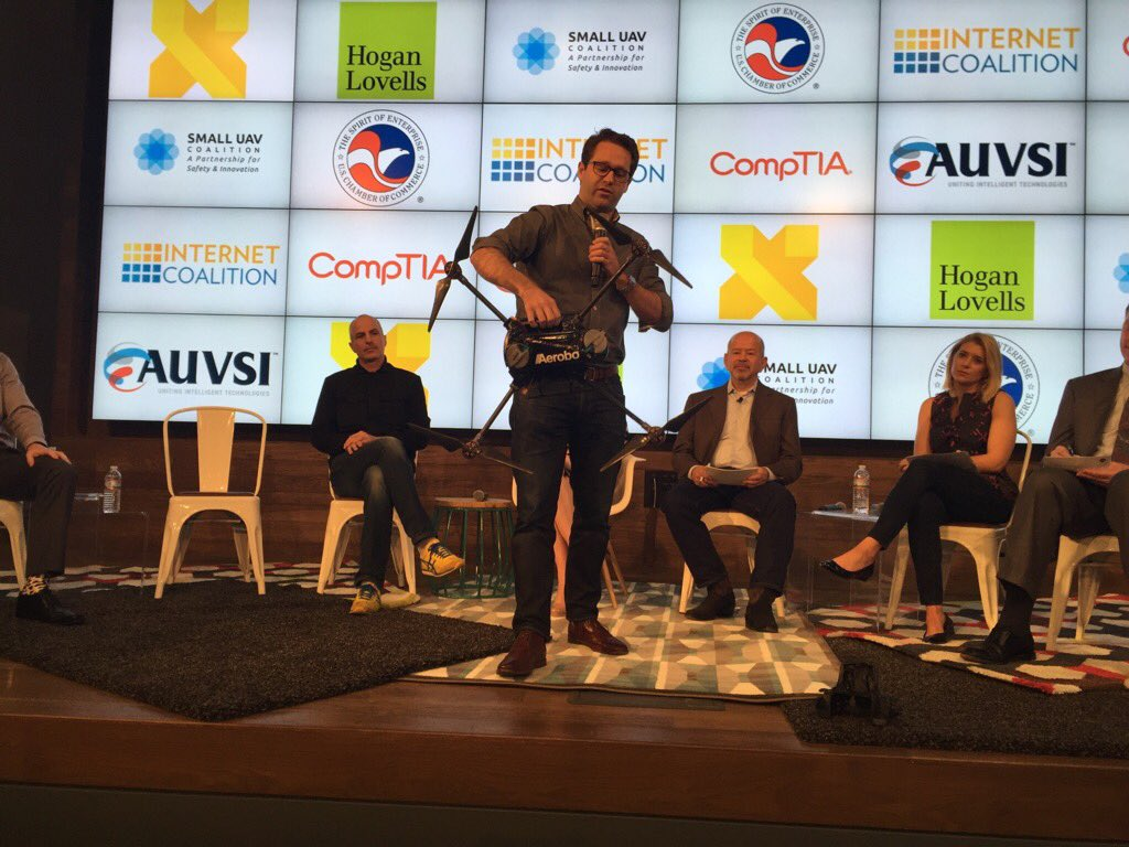 Jon Ollwerther w/ @AeroboDrones showing the audience an example of a MicroUAS. Learn more: