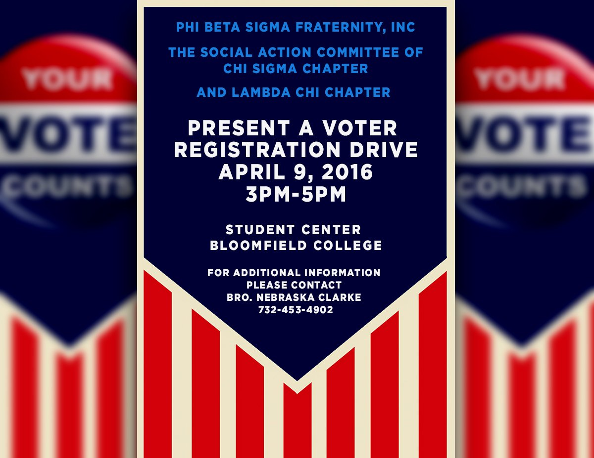 test Twitter Media - Voter registration drive! April 9th - Bloomfield College [3-5p] #pbs_xs #lambdachi #iambk https://t.co/MfDnkjyRik