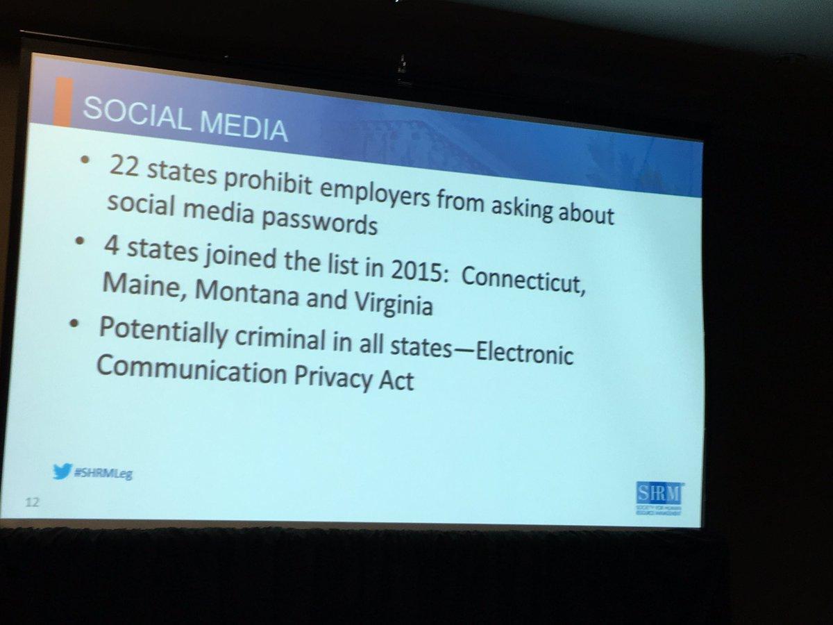 One minute social media update - don't friend individuals in HR - risky per @Jonathan_HR_Law #SHRMLeg https://t.co/XQ2WNbYFsU