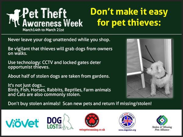 We'll be sharing information throughout the week for Pet Theft Awareness Week, starting with these tips https://t.co/s7eiPjK0Nf