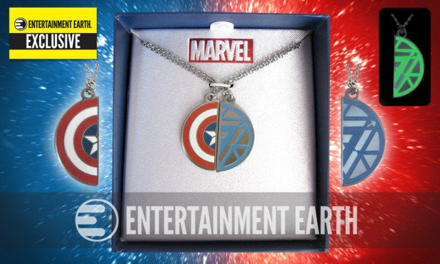 . @EntEarth Exclusive Civil War Necklaces are perfect for #TeamCap and #TeamIronMan fans! https://t.co/oWVmSznzD9 https://t.co/CF8ihI3G1x