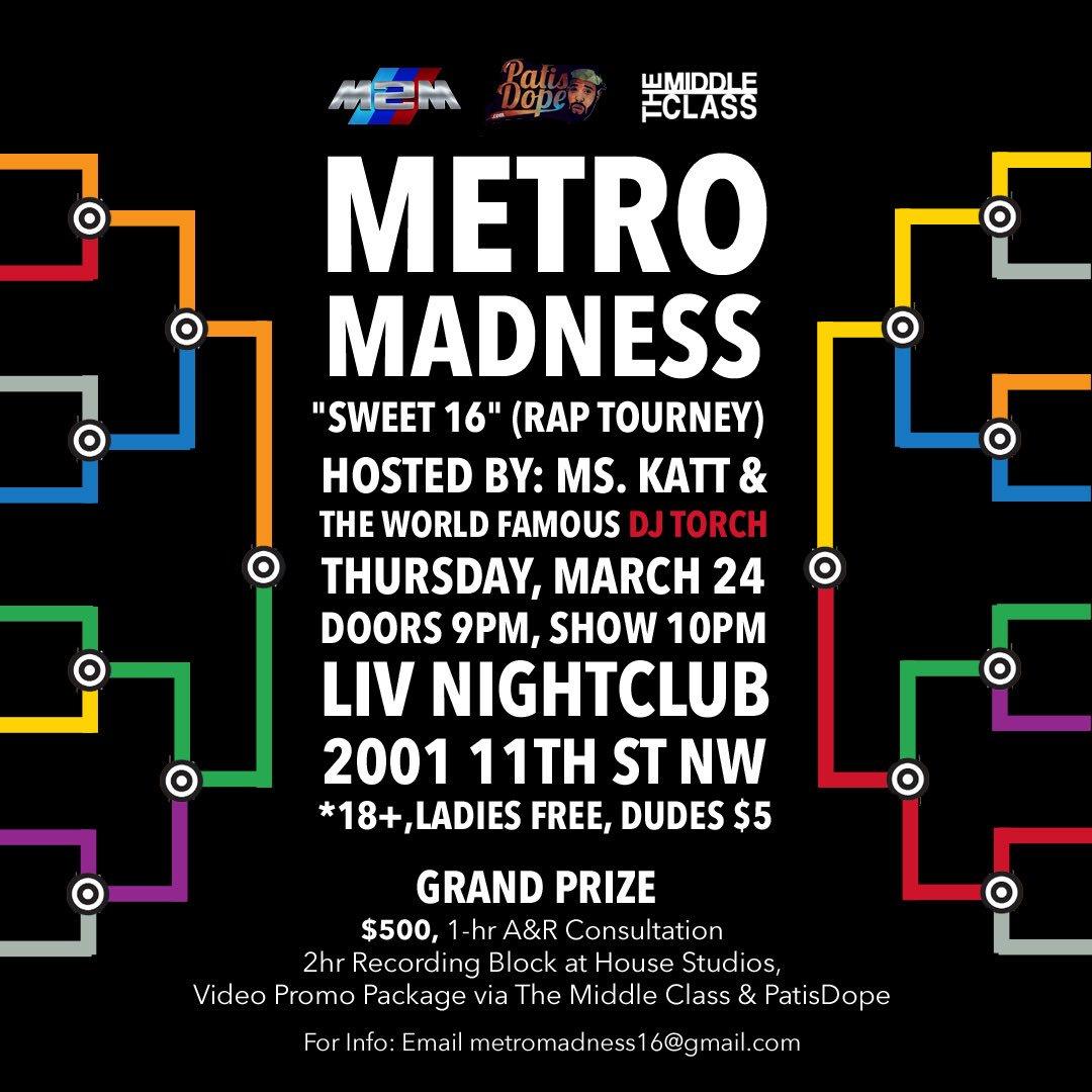 March Madness: R U top 16 n the DMV? Prove it? #metromadness16 Thurs {3/24} @ LIV. 10 slots open @_mskat @PATisDOPE https://t.co/vbyq3j4Kc8