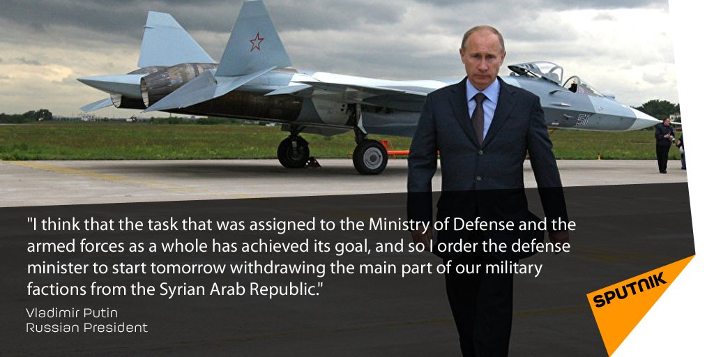 #Assad's been informed of #Putin's decision to withdraw Russian forces from #Syria https://t.co/hGcNrbGdOb https://t.co/kP7PEm2ZtL